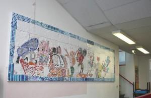 Mozaïekwerk door basisschool de Pionier
